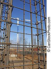 local construção, com, obrigado, concreto, aço, bordas, levantar, cima