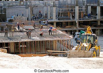 local construção, e, escavadora