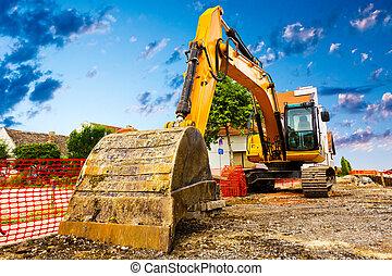 local construção, escavador