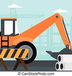 local., construção, fundo, escavador