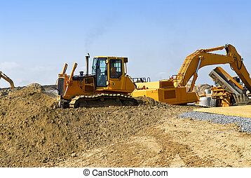 local construção, máquinas
