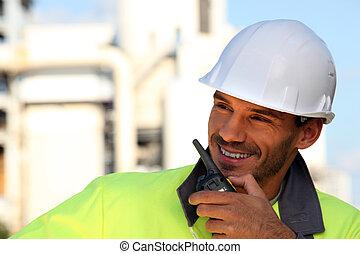 local construção, trabalhador