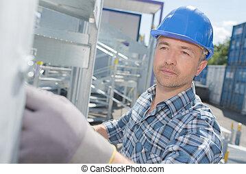 local construção, trabalhando, homem