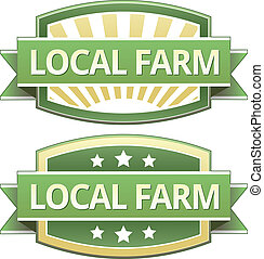 Local farm food label, badge or seal with green and yellow...