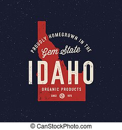 local farm retro grunge badge. homegrown in idaho. vector ...