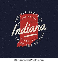 local farm retro grunge badge. homegrown in indiana. vector ...