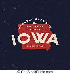 local farm retro grunge badge. homegrown in iowa. vector ...