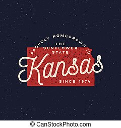 local farm retro grunge badge. homegrown in kansas. vector ...