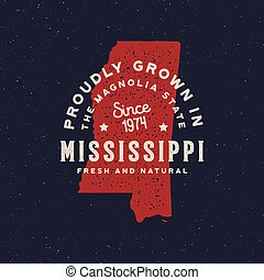 local farm retro grunge badge. homegrown in mississippi. ...
