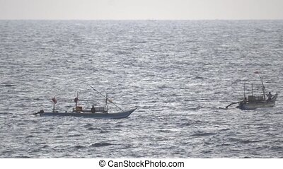 Local Fishermen on Small Boats in Sri Lanka - Local...