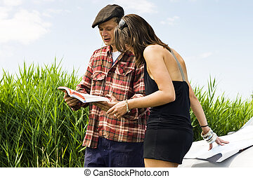 Local guide - Young woman asking a farmer for information...