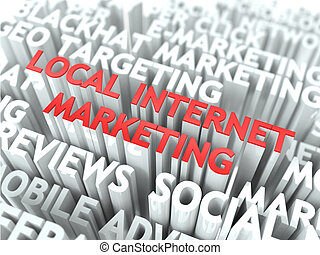 Local Internet Marketing Concept. The Word of Red Color...