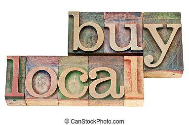 local, letterpress, bois, achat, type