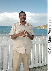 local man on the island beach