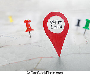 Local map tag - Red locator symbol with We're Local message,...
