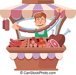 Local market farmer selling fresh meat. - Vector...