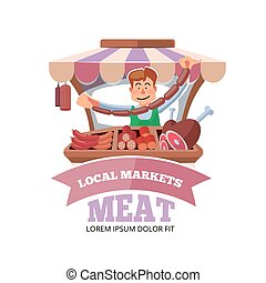 Local market farmer selling fresh meat. - Vector...