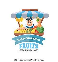 Local market farmer selling vegetables. - Vector...