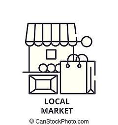 Local market line icon concept. Local market vector linear illustration, symbol, sign