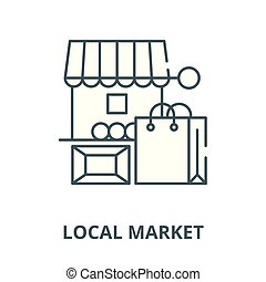 Local market vector line icon, linear concept, outline sign, symbol