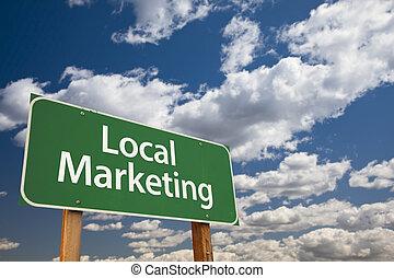 local, marketing, verde, sinal estrada, sobre, céu
