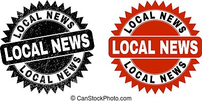 LOCAL NEWS Black Rosette Stamp Seal with Grunged Style