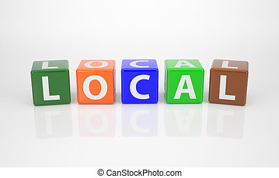 Local out of multicolored Letter Dices - The Word Local out...