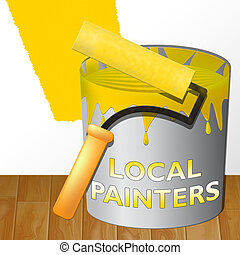 Local Painters Showing Home Painting 3d Illustration