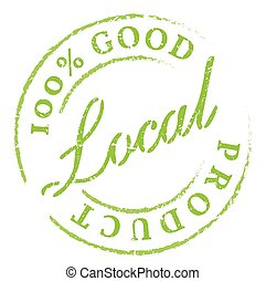 Local Product green rubber stamp on white