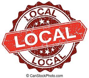 local red round grunge stamp on white