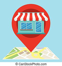 local search marketing ecommerce with shop vector...