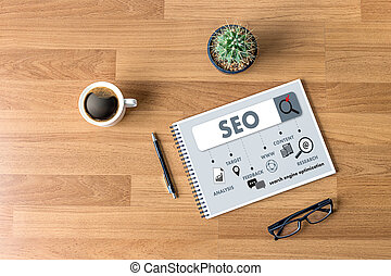Local SEO Concept Business team hands at work with financial reports Links Global Hyperlink search engine optimization and a laptop