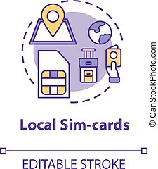 Local sim-card concept icon. Mobile operator. International connection. 4g microchip. Roaming idea thin line illustration. Vector isolated outline RGB color drawing. Editable stroke