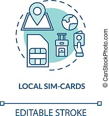 Local sim-card turquoise concept icon. International connection. Telecommunication service. Roaming idea thin line illustration. Vector isolated outline RGB color drawing. Editable stroke