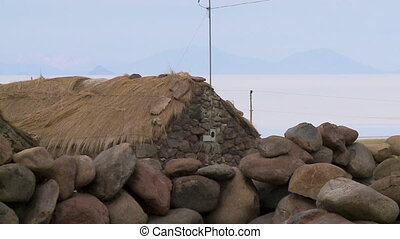 Local Stone House Near Uyuni Salt Flats, Bolivia - Close-up...