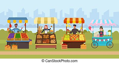 Local street food market flat vector illustration. Outdoor sidewalk grocery marketplace. Friendly vendors selling fruit, vegetables, pastry and baked products. Modern cityscape background