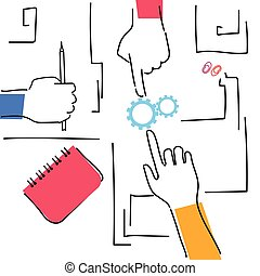 local trabalho, ângulo, woking, negócio, topo, escrivaninha, junto, plano, mãos, fazer, equipe, vista