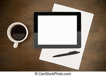 local trabalho, com, em branco, tablete digital