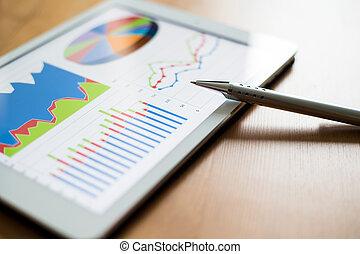 local trabalho, com, tablete digital, mostrando, gráficos, e, diagrama