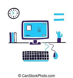 local trabalho, computer., apartamento, vetorial, illustration., modernos