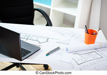 local trabalho, em, a, arquitetônico, escritório