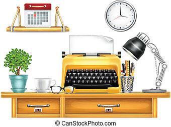 local trabalho, máquina escrever