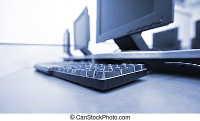 local trabalho, sala, com, computador