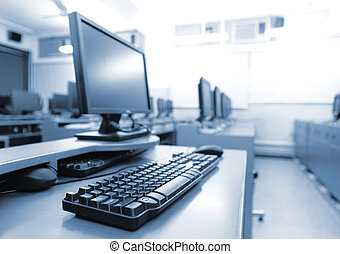 local trabalho, sala, com, computadores