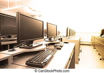 local trabalho, sala, com, computadores, em, fila