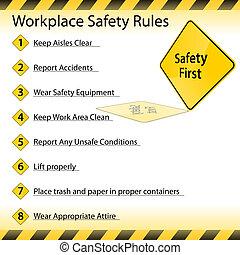local trabalho, segurança, regras