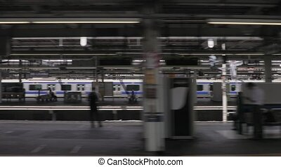 Local Train in Tokyo - Arriving to a metro station