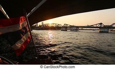 Local transport boat on Chao Phraya river in Bangkok,...