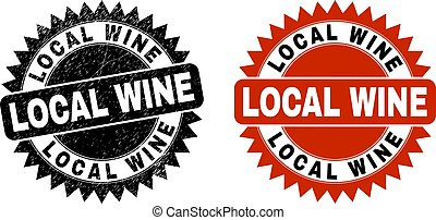 LOCAL WINE Black Rosette Stamp with Unclean Texture