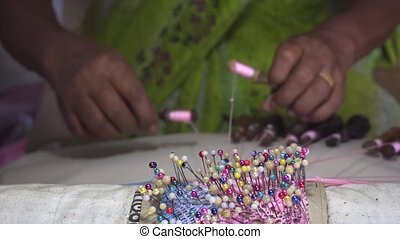Local Woman Weaves Colorful Lace by Hand in Sri Lanka -...